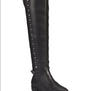 Woman's grey over the knee boots